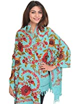 Exotic India Stole from Kashmir with Hand Embroidered Flowers - Color Scuba BlueColor Free Size