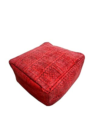 Modelli Creations Natural Fiber Square Dhurrie Pouf, Red