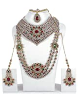 Gorgeous Bollywood Design Maroon-Green Crystal Made Full Bridal Necklace Indian Wedding Jewelry
