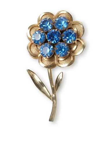 Lulu Frost 1950's Art Deco Flower Brooch, Light Gold