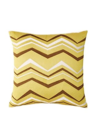 Trina Turk Vintage-Stripe Pillow #3, Off-White/Green-Gold, 18