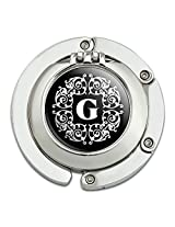Letter G Initial Black White Scrolls Foldable Table Bag Purse Caddy Handbag Hanger Holder Hook With Folding Compact Mirror