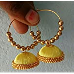 yellow silk thread earrings