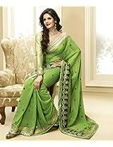 Zarine Khan Collection Brijraj Light Green Georgette Saree With Blouse