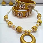 Gold Colour Set with Bangles, Necklace and Jhumka in SIlk Thread
