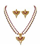 Surat Diamonds Drop Shaped Gold Plated Pendant, Red Ruby Beads & Freshwater Pearl Necklace & Earring Set for Women (SN751)