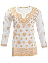 Lucknow Chikan Industry Women's Cotton Straight Kurta (LCI-411, White, S)