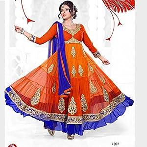 Designer Orange & Blue Long Anarkali Suit