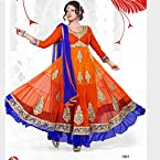 Designer Orange & Blue Long Anarkali Suit