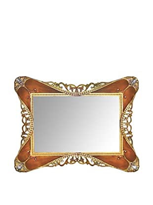 Ashleigh Manor Hand-Painted Rococo Tortoise Enameled Mirror Tray (Gold)