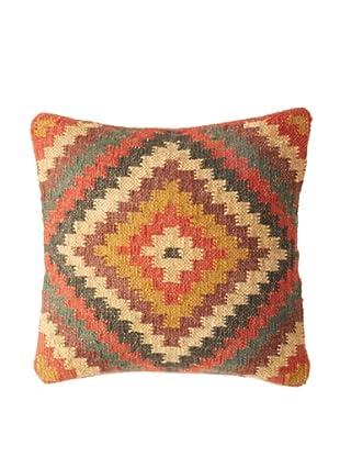 La Boheme Jute/Wool-Blend Geo Diamond Cushion, Multi, 16
