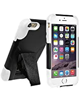 Amzer Double Layer Hybrid Case Cover with Kickstand for Apple iPhone 6 Plus, iPhone 6s Plus - Retail Packaging - Black/White