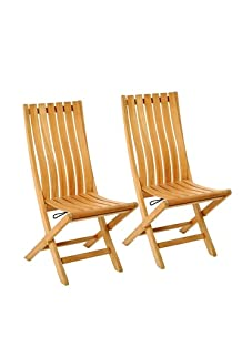 Les Jardins Set of 2 Pergolatek Folding Chairs, Teak
