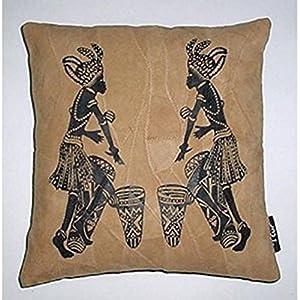 Kitschdii Leather African 2 Bongo Men Cushion Cover