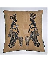 Kitschdii Leather African 2 Bongo Men Cushion Cover