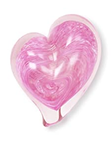 Asheville Glass Center Heart Paperweight, Light Pink