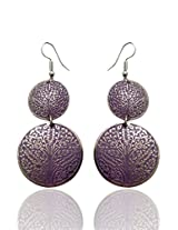 Optionsz Double Round Desinge Purple Color Nature Embossed Elegant Hanging Dangler Earring , OPTERJPAZ239