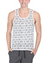 Zobello Men's Allover Printed Summer Tank(21145C_White Basket Weave Print_XX-Large)