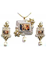 Shingar Ksvk Jewels Polki Kundan Cubic Zirconia Temple Pendant Set For Women (9482-dck-temple-ps)
