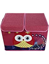 UberLyfe Pink Double Flap Kids Storage Box with Red Owl and Ferris Wheel - Double Flap - Large