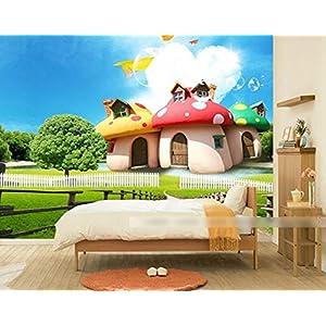 Rc Tots Mushroom Hut mural wallpaper for girls and boys room decor wallsticker