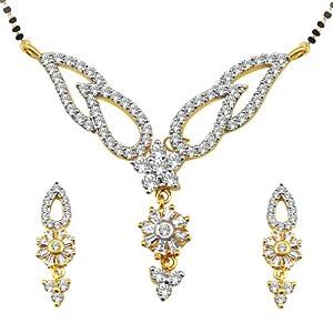 Spargz Sms 352 Diamond Mangalsutra Earring Set
