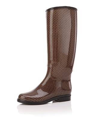 däv Women's English Printed Knee-High Boot (Khaki/Black)