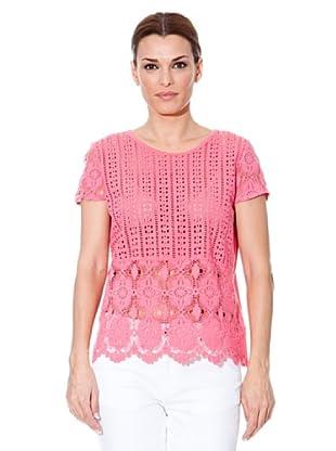 Cortefiel Camiseta Encaje (Rosa)