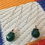 92.5 sterling silver green drop earrings