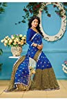 A G Lifestyle Blue & Green Faux Georgette Saree with Unstitched Blouse AKS2012