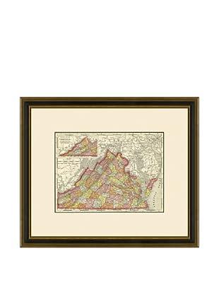 Antique Lithographic Map of Virginia, 1886-1899