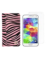 VanGoddy Mary Zebra Print Portfolio Self Stand Book Style Case Cover For Samsung Galaxy S5 G900 (Magenta) + Tempered Glass Screen