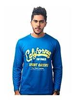 TEKKI Men's Cotton Blue T-shirt (Medium)