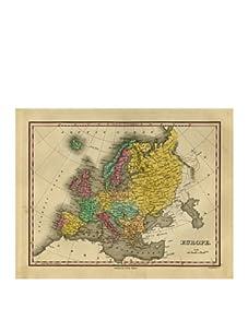 """Europe Map, Pink/Aqua/Green/Yellow, 32"""" x 40"""""""