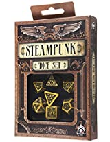 Yellow and Black Steampunk Dice, Set of 7