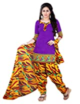 Prafful Purple beautiful cotton printed unstitched salwar suit material