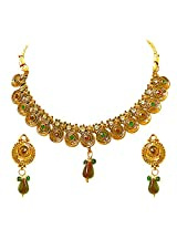 Surat Diamonds Round Shaped Coloured Stone & Gold Plated Necklace & Earring Set for Women(PS235)