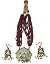 Exotic India Brown Bridal Necklace Set with Peacock Pair and Star-Spangled on Earrings - Lacquer wit