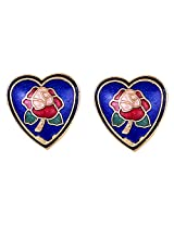 heart shape earrings with flowery meenakari work