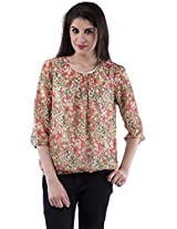AARR Green Floral Printed 3/4 Sleevess Round Neck Polycotton Top