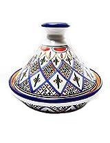 Le Souk Ceramique CT-TK-22 Cookable Tagine, 9-Inch, Tabarka Design