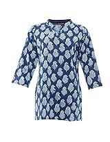 Amaya Women's Cotton Regular Fit kurti (Amaya035_M, Indigo, M)