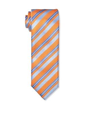 Massimo Bizzocchi Men's Blue Stripe Tie, Orange