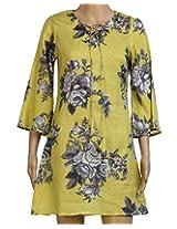 Aafra Girls' Cotton Regular Fit Kurti (42,Yellown Floral Print)