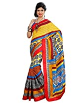 Vibes Women's Weightless Saree, With Printed Border (S29-6021B_Multi-Coloured)