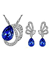 Elegant Persian Blue Austrian Crystal Pendant & Earring Set Pendant For Women by ETERNO FASHIONS