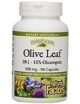 Natural Factor, Olive Leaf, 500 Mg, 90 Capsules