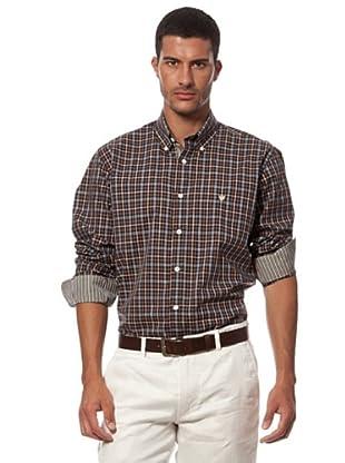 Caramelo Camisa Botones Contraste (marrón)