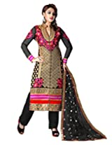 Inddus Exclusive Women Black & Pink Unstitched Salwar Kameez