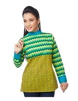 Enah Women's Cotton Yellow Handcrafted Edgy Top Medium (124 / Top / Yellow-Medium)